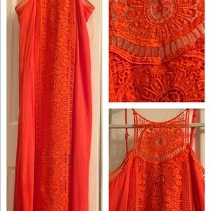 👗Embroidered Bright Orange Dress👗